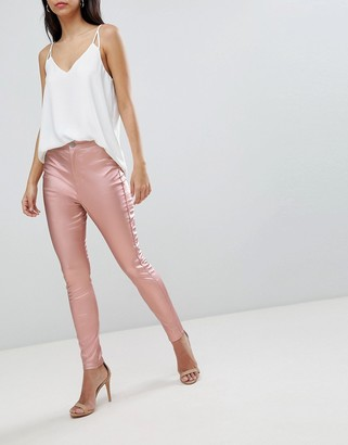 Asos Design DESIGN Rivington high waist denim jeggings in rose gold satine-Pink