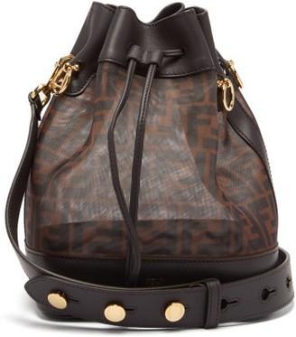 Fendi Mon Tresor Ff-logo Leather-trim Bucket Bag - Womens - Brown Multi