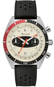 Bulova Men's Chronograph Archive Surfboard Black Silicone Strap Watch 40.5mm