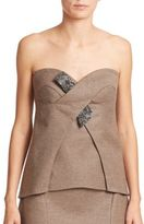Escada Wool & Cashmere Embellished Bustier Top