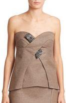 Escada Wool & Cashmere Embellished Bustier Top