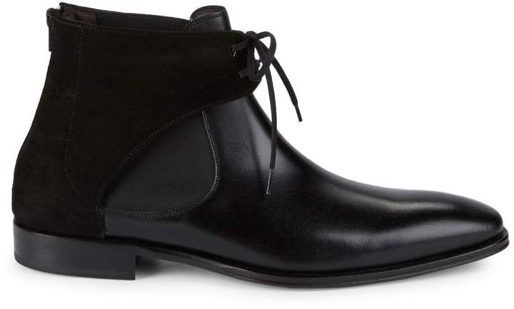 bde7e823124 18686 Tie Front Leather Chelsea Boots