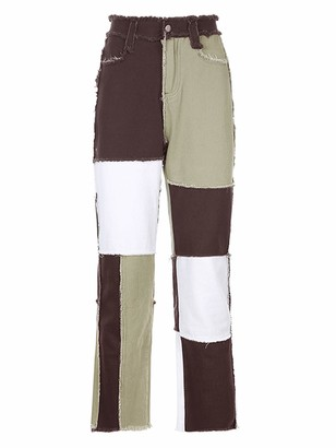 HUAZONG Womens High Waisted Jeans Stretch Patchwork Distressed Straight Flare Denim Jeans Ladies Fashion A Line Vintage Casual Trousers (Brown XL)