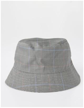 Piper DL25856 Grey Check Bucket Summer Hats