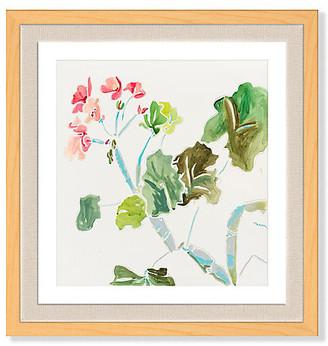 "One Kings Lane Kate Lewis - Geranium with Greens & Blues Art - 24""L X 23""W"
