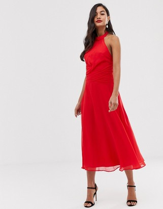 ASOS DESIGN midi dress with high neck and drape waist detail