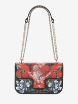 Alexander McQueen Floral Table Cloth Insignia Chain Satchel