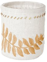 Lazy Susan 625034 White Linen Gold Stitched Fern Votive Small