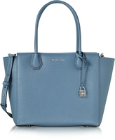 Michael Kors Mercer Large Denim Bonded Pebble Leather Satchel