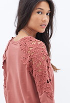 Forever 21 Crochet Terrycloth Sweatshirt