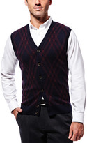Haggar Long Sleeve Exploded Argyle Button Front Vest