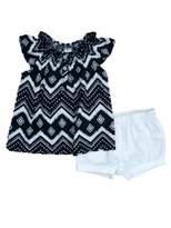 Carter's Infant Girls Black & White Chevron Shirt & Shorts 2 PC Set 6 Months