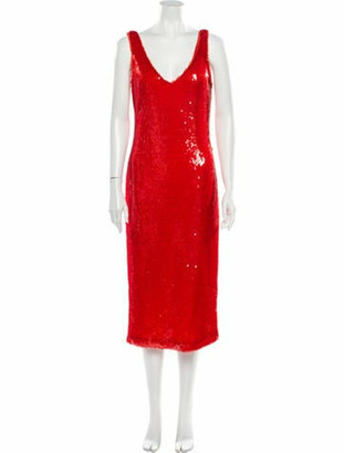 Sally LaPointe V-Neck Midi Length Dress w/ Tags Red V-Neck Midi Length Dress w/ Tags