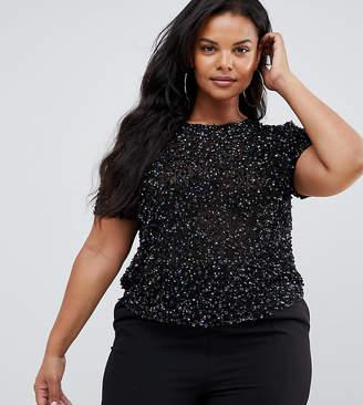 Asos DESIGN Curve t-shirt with sequin embellishment-Black