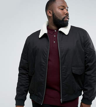 French Connection PLUS Checked Lined Harrington Jacket with Borg Collar-Black