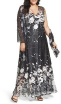 Komarov Plus Size Women's Lace-Up Back Floral Gown & Shawl