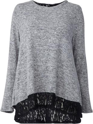 Evans **Izabel Curve Grey Lace Trim Jumper