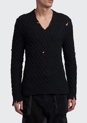 Dolce & Gabbana Men's Destroyed Knit V-Neck Sweater