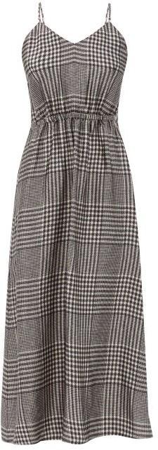 MM6 MAISON MARGIELA Prince Of Wales-check Satin Midi Dress - Black White