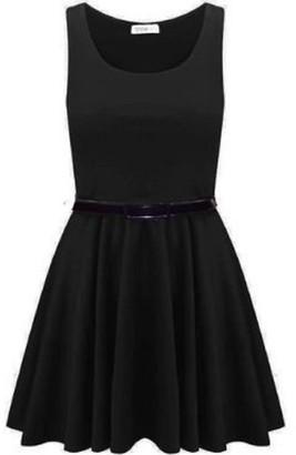 Momo&Ayat Fashions Ladies Belted Pleated Plus Size Franki Skater Dress Charcoal
