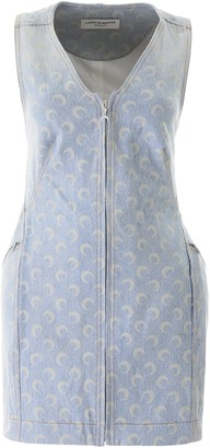 Marine Serre Moon Print Denim Dress