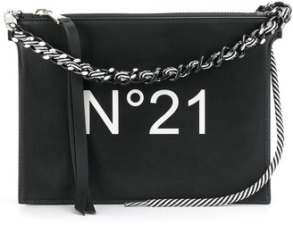No.21 Chain-Trimmed Logo Print Shoulder Bag