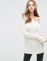 Asos Cable Sweater with One Shoulder