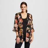 Xhilaration Women's Ruffle Sleeve Kimono Jacket Black Juniors')