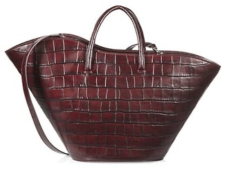 Little Liffner Medium Tulip Croc-Embossed Leather Tote