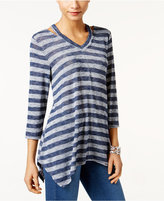 Style&Co. Style & Co V-Neck Handkerchief-Hem Top, Only at Macy's