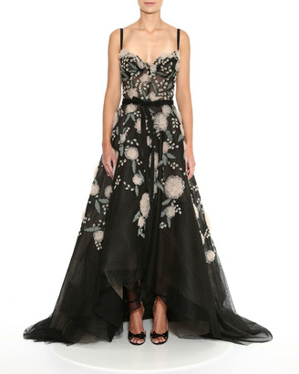 Marchesa Fishnet Embroidered High-Low Gown