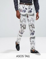 Asos Tall Wedding Skinny Smart Trousers In Pastel Floral Print