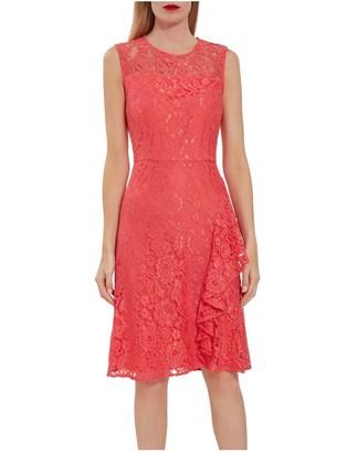Gina Bacconi Lilita Corded Lace Waterfall Frill Dress