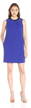 Lark & Ro Women's Sleeveless Faux-Leather Neckline Shift Dress