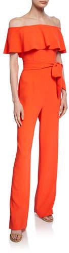 Trina Turk Guests Off-the-Shoulder Short-Sleeve Popover Jumpsuit