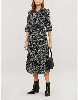 MICHAEL Michael Kors Cheetah-print ruffle-trim crepe midi dress