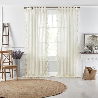 Elrene Bella Tab-Top Ruffle Sheer Window Curtain