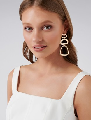 Forever New Safia Retro Geometric Statement Drop Earrings - Gold - 00