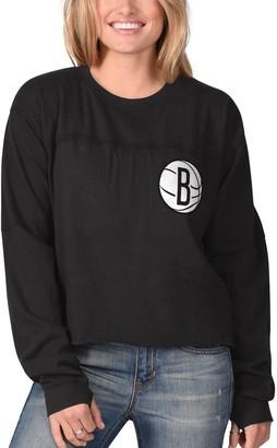 Women's G-III Sports by Carl Banks Black Brooklyn Nets Pressbox Oversized Raw Edge Long Sleeve T-Shirt