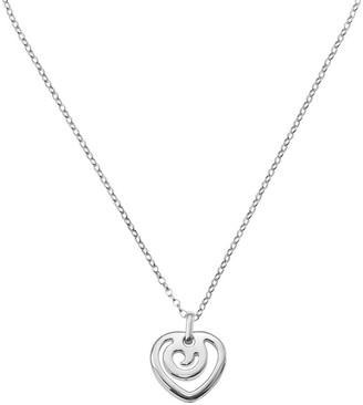 "Italian Silver Contemporary Heart Pendant with16"" Chain"