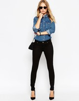 Asos Lisbon Skinny Mid Rise Jeans in Clean Black