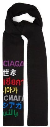 Balenciaga Languages Logo-jacquard Wool-blend Scarf - Black Multi