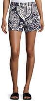 Trina Turk Columbus Avenue Paisley-Print Cotton Shorts
