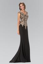 Elizabeth K - Embellished V-Neck Jersey Long Gown GL1333