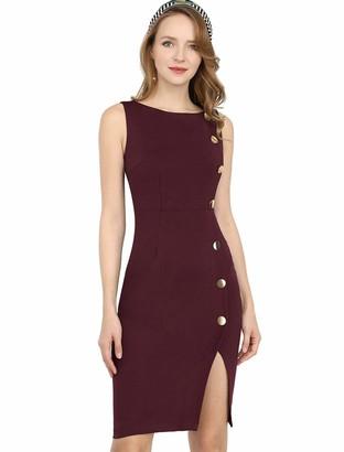 Allegra K Women's Button Decor Sleeveless Slit Stretchy Office Bodycon Sheath Dress M Burgundy