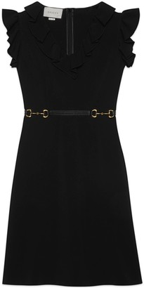 Gucci Short viscose dress with leather belt