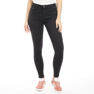 Fluid Womens Skinny Jeans Washed Black