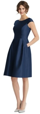 Alfred Sung Boat-Neck A-Line Dress