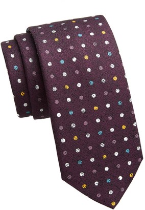 Saks Fifth Avenue Polka Dot Silk Print Tie