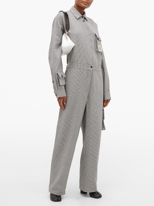 Natasha Zinko Houndstooth Cotton Jumpsuit - Womens - Grey